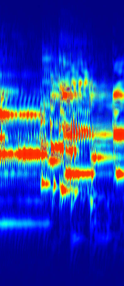 Same audio, constant Q transform, low Q factor with interference